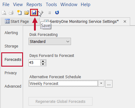 SentryOne Monitoring Service Settings Forecasts Save changes