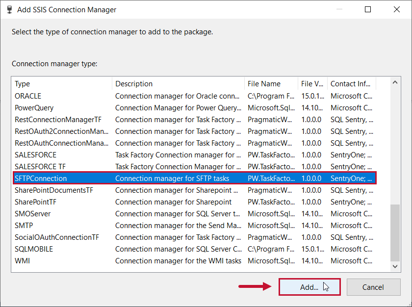 Task Factory Add SFTP Connection Manager