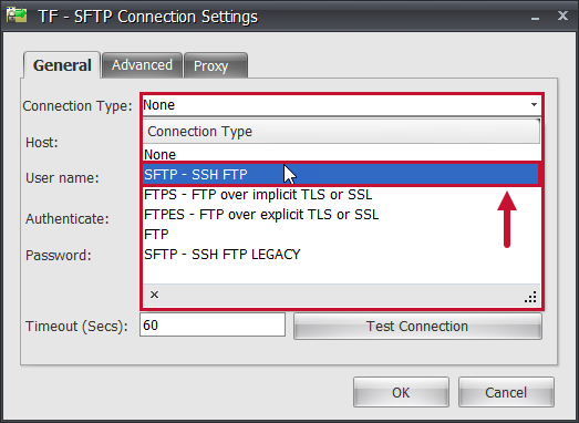 Task Factory SFTP Connection Settings Connection Type