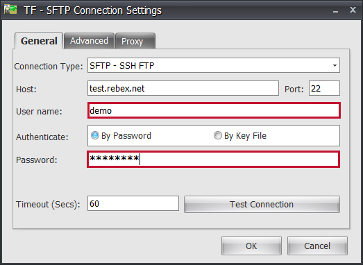 Task Factory SFTP Connection Settings enter Username and Password