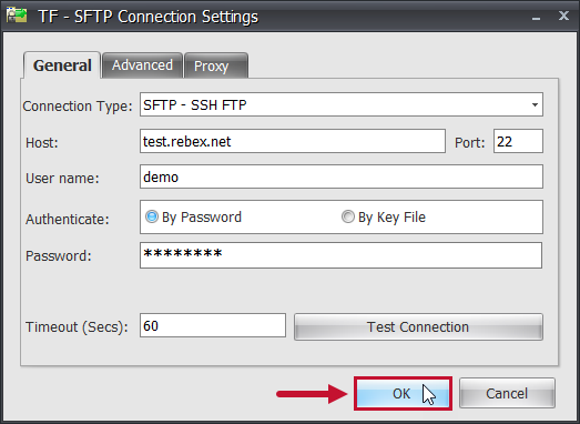 Task Factory SFTP Connection Settings Ok