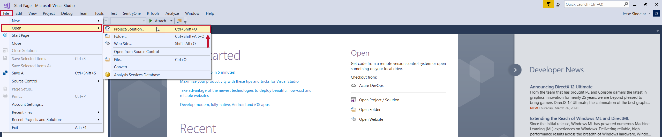 Task Factory Open Visual Studio Project
