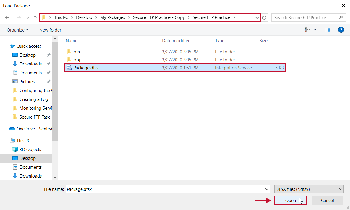 Task Factory select the file path of your copied package
