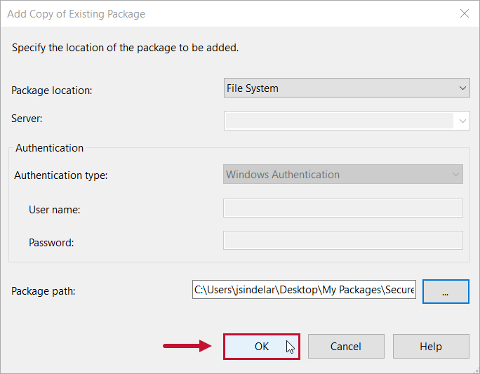 Task Factory Add Copy of Existing Package select Ok