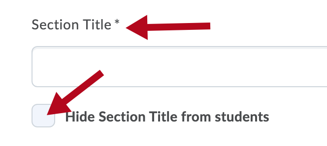 Identifies Section Title and Hide Section Title checkbox