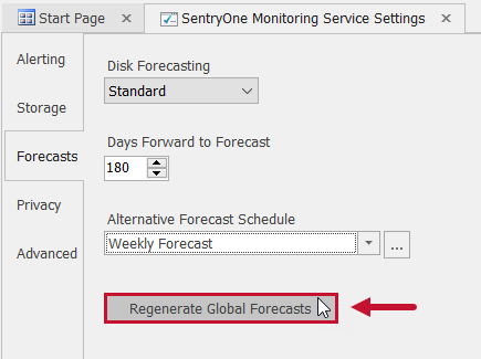 SentryOne Monitoring Service Settings Forecasts Regenerate Global Forecasts