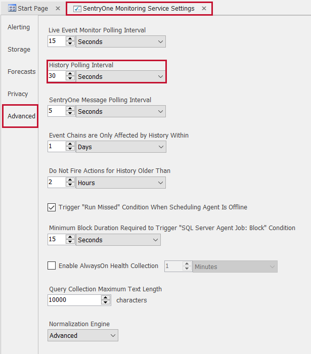 SentryOne Monitoring Service Settings Advanced History Polling Interval