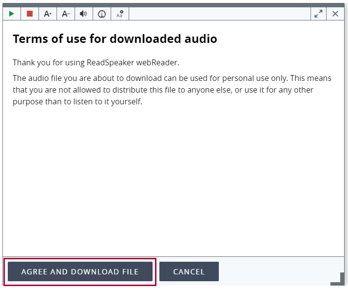 Identifies ReadSpeaker audio download terms of use Agree and Download file button.