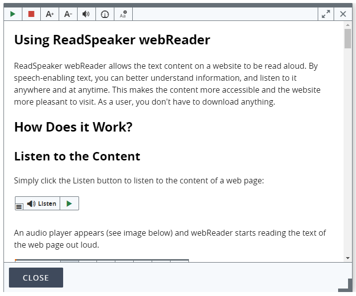 Shows ReadSpeaker help documentation.