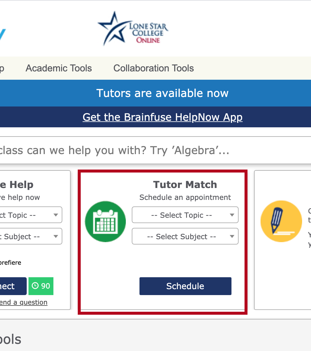 Indicates Tutor Match scheduling