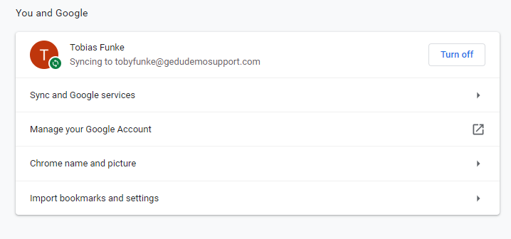 Image of the chrome settings page showing signed in user