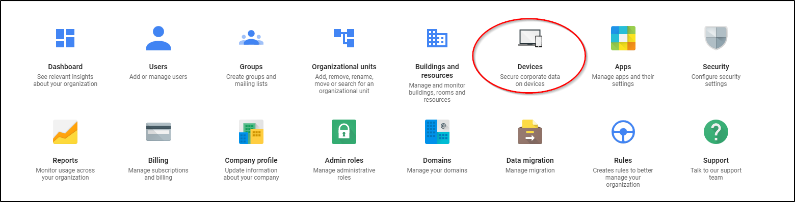 Google Admin Console Device management