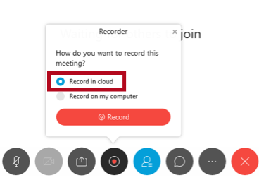 Indicates Record in cloud option