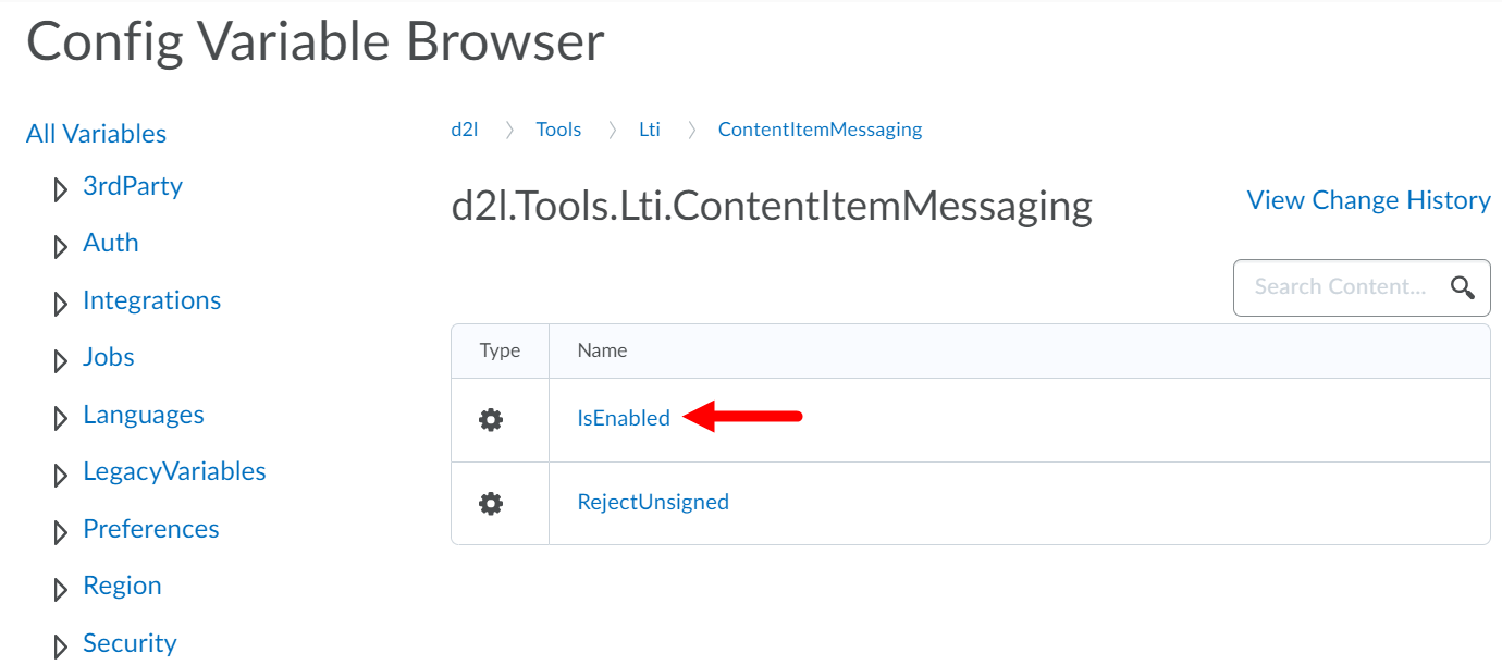 Content Item Messaging variable page with isEnabled field identified as described