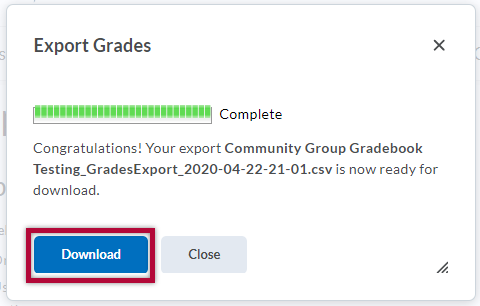 Displays export grade download status screen with Download button indicated