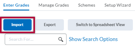 Indicates Import button on the Manage Grades screen