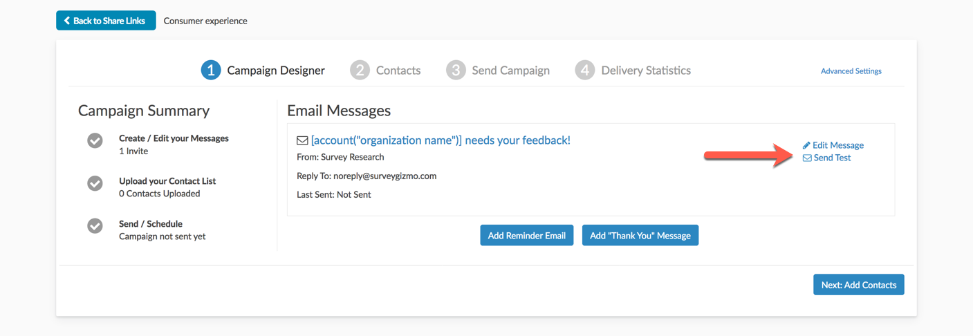 Email Campaign: Test Messages