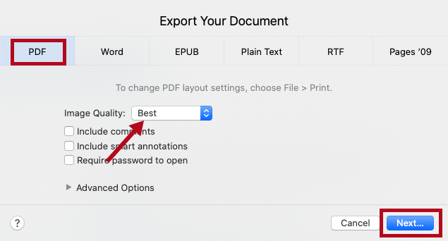 Indicates PDF options and Next button