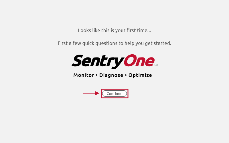 SentryOne Onboarding Wizard select Continue