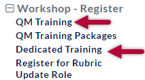 Shows the Workshop-Register menu with QM Training and Dedicated Training identified