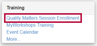 Outlines the Quality Matters Session Enrollment form on the VTAC Support page