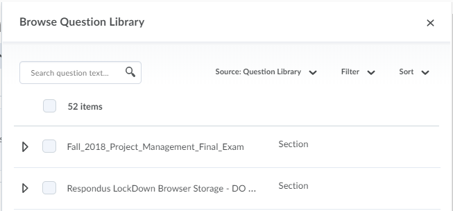 Shows the Browse Question Library screen.
