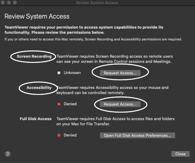 Review system access options