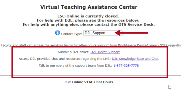 Identifies D2L Support options