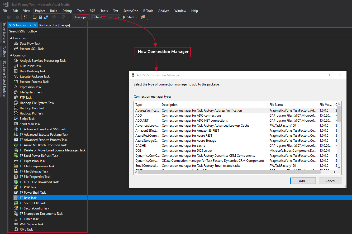Task Factory in the Visual Studio SSIS Toolbox and SSIS Connection Manager