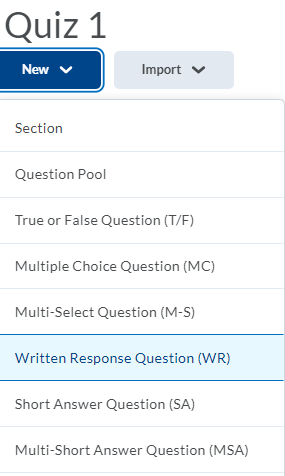 Shows Written Response (WR) question type in the New menu