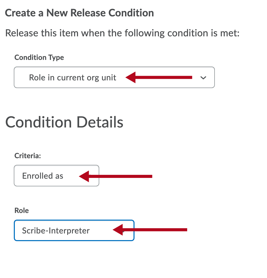 Identifies settings in Release Conditions window