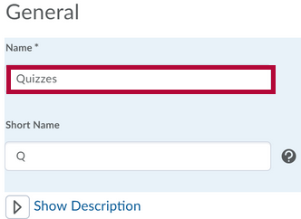 Shows the create gradebook category dialog with name field identified