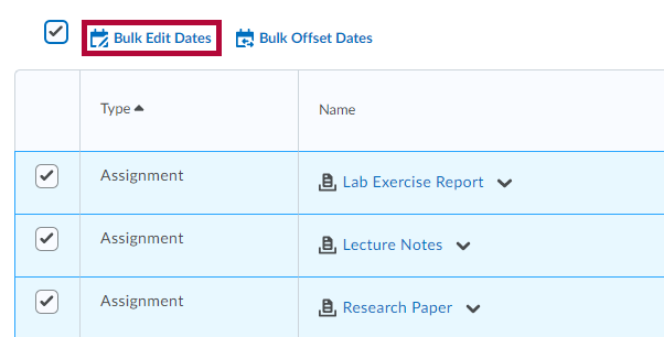 Select option for Bulk Editing Dates