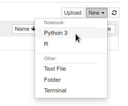 Jupyter 'New' dropdown with 'Python 3' highlighted.