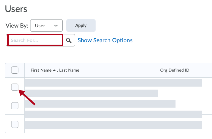 Identifies search box and indicates selection checkbox