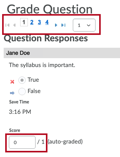 Identifies Questions responses tool and Score field