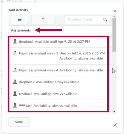 Indicates Activity category and Identifies list of assignments