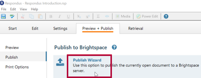 Shows a mouse hovering over the Publish Wizard option.