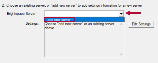 Shows 'add new server' selection.