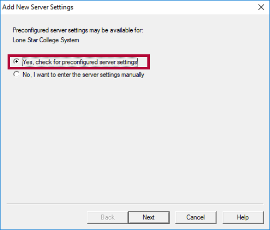 Displays selection for preconfiured server settings.