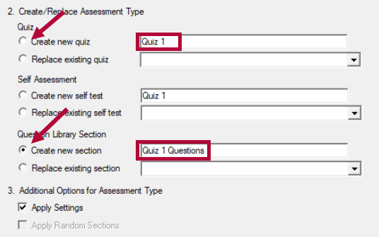 Displays Create Assessment Type options.