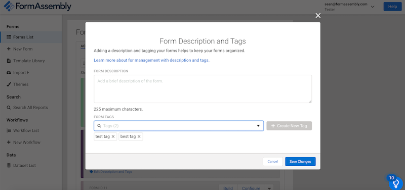 Image of the Form Description and Tags modal shown