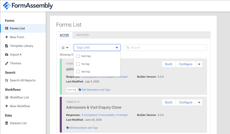 Image of the Forms List with the Tags combobox focused