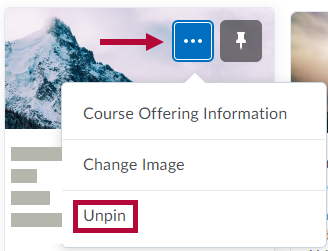 Identifies Unpin option for Course.