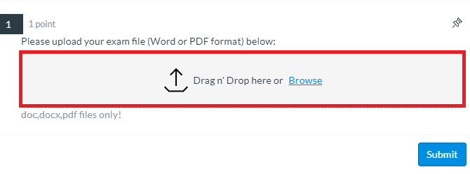 image shows the upload box. Drag and drop or click Browse to find your file.