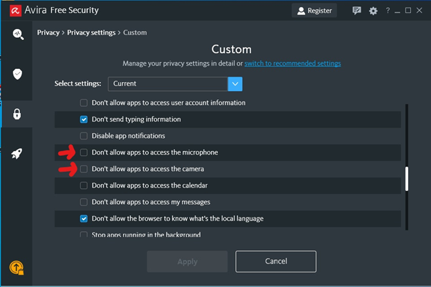 Avira custom settings page 2