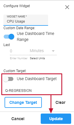 Monitor Configure Widget window with Custom Target Q-Regression selected to update a CPU Usage chart.