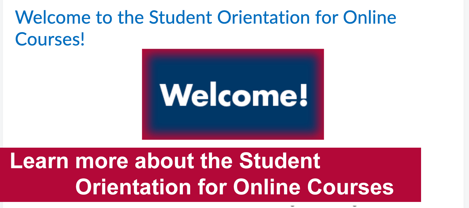 Learn more about the student orientation for online courses.