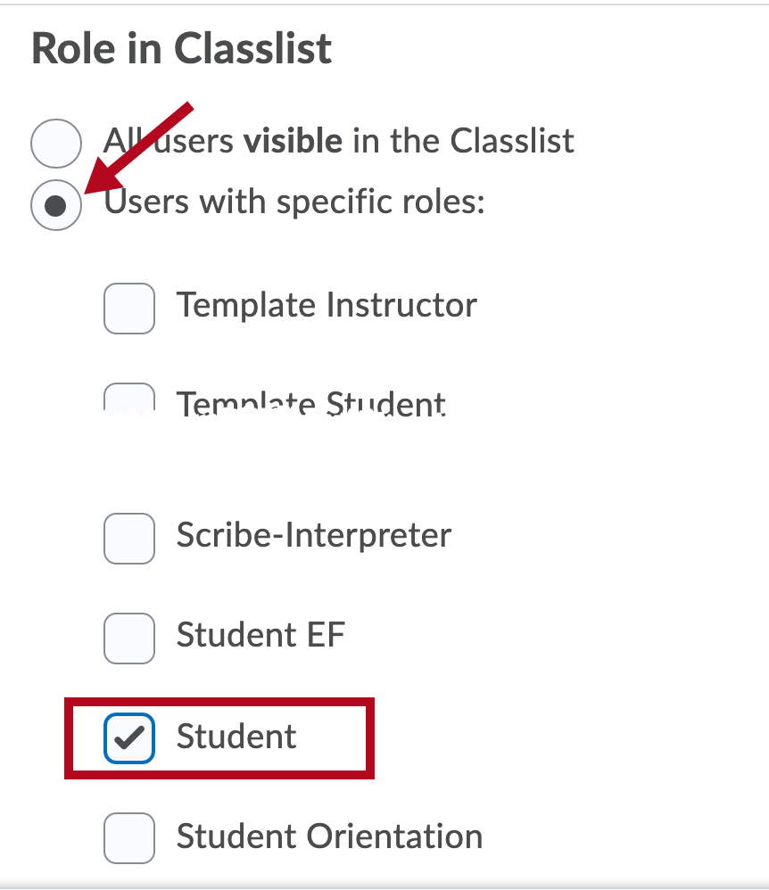 Indicates choosing Student Role