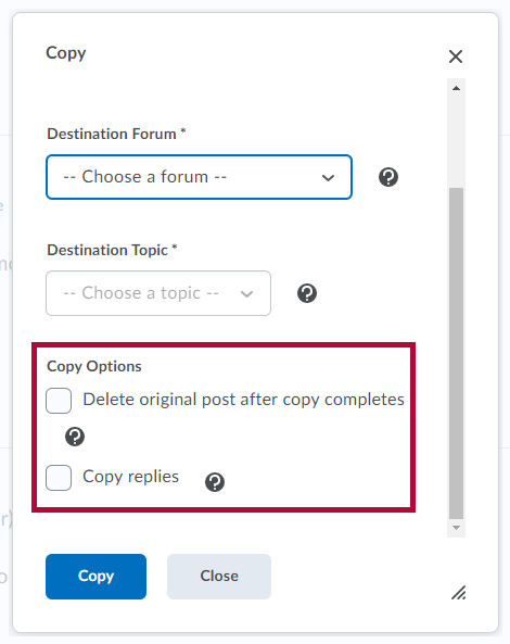 Shows copy forum options.